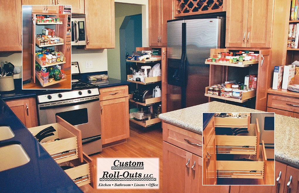 At Custom Roll Outs We Custom Design, Build, And Install Roll Out Shelves  For Your Existing Cabinets In Your Kitchen, Bath, Office, Linen Cabinet, ...